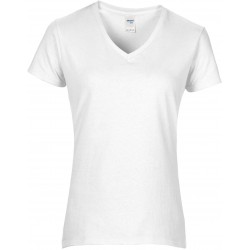 GI4100VL - Premium Cotton Ladies' V wit