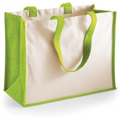 W422 Jute Shopper apple green
