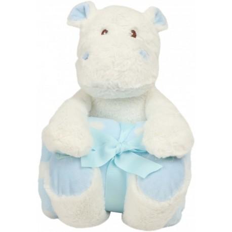 Hippo met fleece dekentje blauw